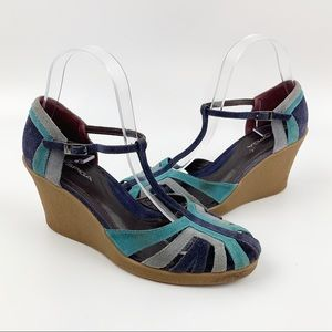 VIA SPIGA Suede Ankle Strap Wedge Retro Style 7.5